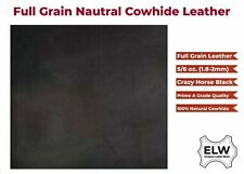"""Import Tooling Full Grain 100% Cowhide Leather Piece 24""""x24"""" 2.0mm 5/6oz BLACK"""