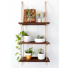 Durable 3 Tier Wall Hanging Floating Swing Storage Shelves with Jute Rope