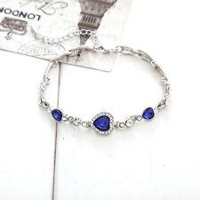 Blau Herz Runde Sapphire Fein Topaz Elements Tennis-Armband Geschenk NEU.~