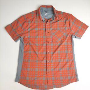 Club Ride Men's Plaid Snap Button Short Sleeve Cycling Shirt Size Medium Spandex
