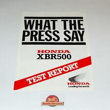 Honda Test Report Brochure XBR500 1985. Original Honda UK Reprint.