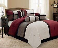 7 Piece Burgundy Grey Brown Beige  Micro Suede QUEEN Comforter Set