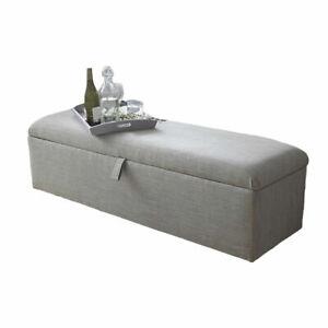 Large Lift Up Ottoman Storage Box Plain Upholstered Fabric Pouffe Footstool Seat