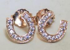 ROSE GOLD OVER 925 STERLING DIAMOND HORSESHOE  HORSE SHOE EQUINE STUD EARRINGS