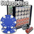 New 1000 Striped Dice 11.5g Clay Poker Chips Set with Acrylic Case - Pick Chips!