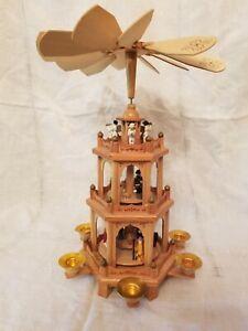 German Christmas 3 Tier Nativity Pyramid 6 Candle Carousel Windmill