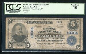 1902 $5 THE UNION NATIONAL BANK OF CARNEGIE PENNSYLVANIA CH. #12934 PCGS VG-10