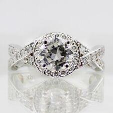 GIA Certified Diamond Engagement Ring 14k White Gold 1.36 carat Round Cut