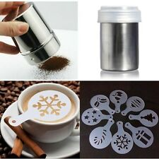 Stainless Chocolate Shaker Cocoa Sugar Powder Coffee Pounce-Pot With 16pcs Molds