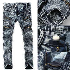 Men Slim Skinny Runway Straight Elastic Denim Pants Destroyed Ripped Jeans UK