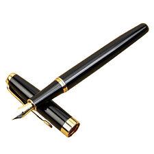 Classic BAOER 388 Stainless Steel Fountain Pen Golden Trim M Nib AD