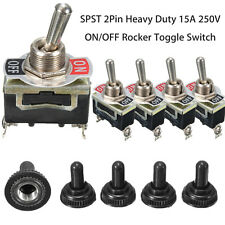 5Pcs SPST 2Pin Heavy Duty 15A 250V ON/OFF Rocker Toggle Switch Waterproof Boot