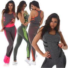 Damen Zweiteiler Fitness Set Sport Top Hose Jogginganzug Tanktop Gr. S/M L/XL