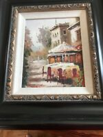 Vintage Oil Painting Signed Paris Street Scene Framed 10 x 12