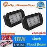 2X 18W 6inch LED Work Light Flood Driving Lamp OffRoad FOG 4WD Truck Flush Mount