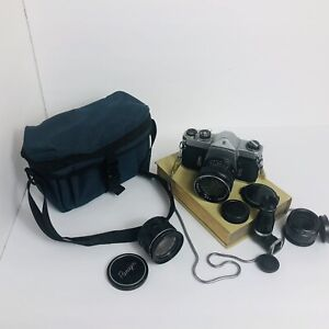 Honeywell Pentax Spotmatic Pentax 35mm Camera Rare Vintage Bundle With Lenses