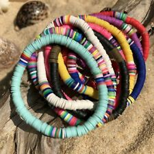 Boho Colorful Beaded Polymer Clay Elastic Bracelet Stretch Disc Beads Jewelry