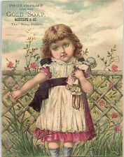 1880's Lovely Girl With Doll Gold Soap Schult Trade Card #2 &W