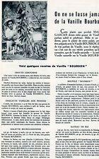 RECETTE A LA VANILLE BOURBON 1954 RECEIPE OF BOURBON VANILLA