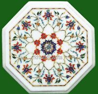 15 Inches Marble Side Table Top Inlay Coffee Table with Semi Precious stones Art