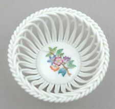 Herend (Hungary) Porcelain Open Weave Basket In Queen Victoria Pattern