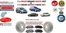 FOR TOYOTA COROLLA 1.4DT 1.8 2.0DT D4D REAR BRAKE DISCS SET + DISC PADS KIT NEW