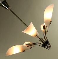 Decken Lüster Messing Kunststoff Leuchte Pendel Hänge Lampe Vintage 50er Jahre