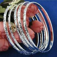 5Pcs 925 Silver Filled Carving Cuff Bracelet Bangle Jewelry Set For Women Gift