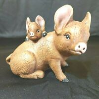 """Vintage Mother/Baby Pig Brown Ceramic 5 1/4"""" long x 3 1/2"""" tall Preowned"""