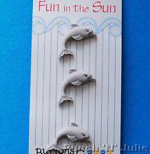 Dauphins-fun in the sun gris gray sealife ocean flipper nouveauté craft boutons