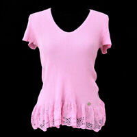 Auth CHANEL CC Short Sleeve Tops Pink #42 Vintage AK32363