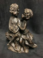 Small vintage  Bronze sculpture with two playful children