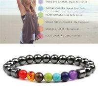 7 Chakra Healing Beaded Weight Loss Bracelet  Hematite Stone Bracelet Jewelry OD