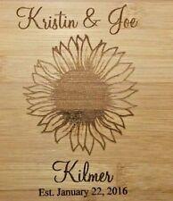 "Personalized Bamboo Cutting Board Sunflower Wedding Christmas Gift 13 3/4"""