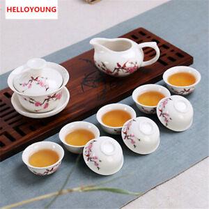 Teapot and Teacup Set Chinese Kung Fu Tea Set 10 Pcs High Quality Ceramic Gaiwan