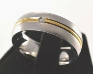 Engravable 14k Gold Stripe / CZ Ring Stainless Steel 316L - Size 13