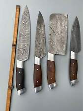 CUSTOM HANDMADE DAMASCUS STEEL KITCHEN KNIVES CHEF SET 4 PEACES