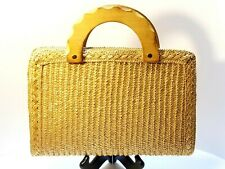 Vintage~Bamboo Wicker Wooden Handle Handbag/Purse