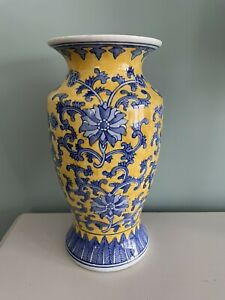Tall Chinoiserie Large Yellow And Blue Floral Oriental porcelain vase