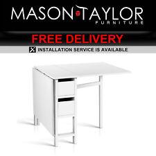 Mason Taylor Modern Home Gateleg Foldable Dining Table FURNI-CHANGE-DIN-WH-AB