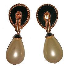 Vintage Kjl Pearl Drop Black Enamel Clip Earrings