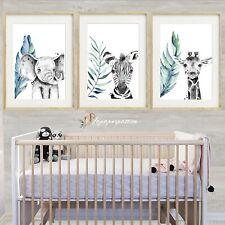 Safari tropical Nursery Wall Prints, Boys nursery wall prints,Set of 3 prints