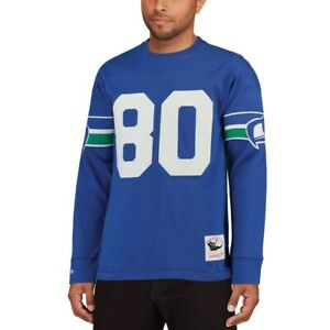NFL STEVE LARGENT 80 Seahawks Long Sleeve MITCHELL & NESS Jersey Inspired Knit
