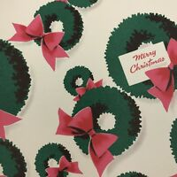 Vintage Mid Century Christmas Greeting Card Pink Green Wreaths NORCROSS