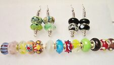 Silver Tone Hook Beaded Earrings 20 Beads .925 Murano Glass NWOT