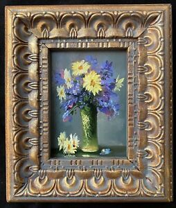 New Original Miniature Oil Painting Antique Style Still Life Flowers With Frame