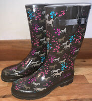 Western Chief Brown Flowers Horses Rain Mud Buckle Waterproof Boots Women's 9