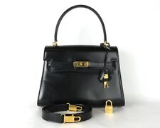 100% Auth LAMAF Black Leather Hand Bag Made In Italy W/Strap & Pad lock & 2 Key