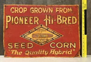 Vintage Pioneer Hi-bred Seed Corn Embossed Metal Sign Feed Farm Cattle Gas Oil