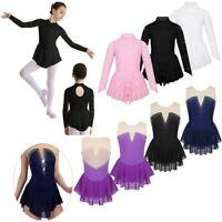Girls Rhinestone Skating Dress Ballet Dance Gymnastics Leotard Costume Dancewear